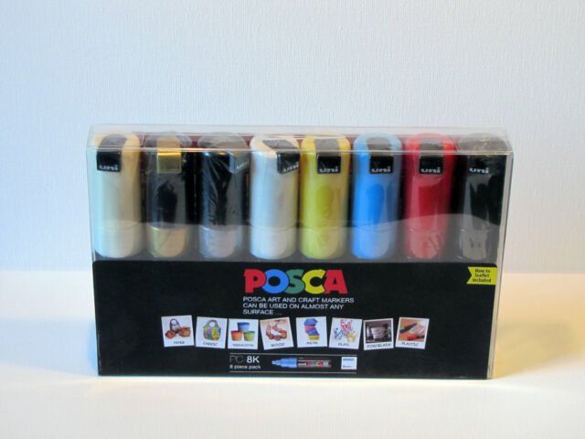 8 x PENS 6 COLOURS *CHEAPEST ON PC-8K SALE* Uni POSCA Paint in a Pen