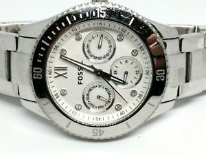 Fossil-ES3098-Stella-watch-Silver-38mm-6-5-034-band-White-Face