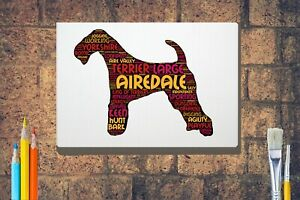 Airedale-Terrier-Word-Art-Canvas-A4-A3-A2A1-Mothers-Day-Gift-Personalised-Option