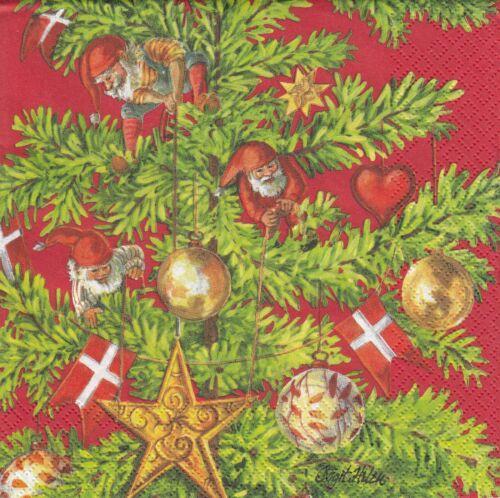 Nisser im Tannenbaum 2 Lunch Papier Servietten Napkins TTv27