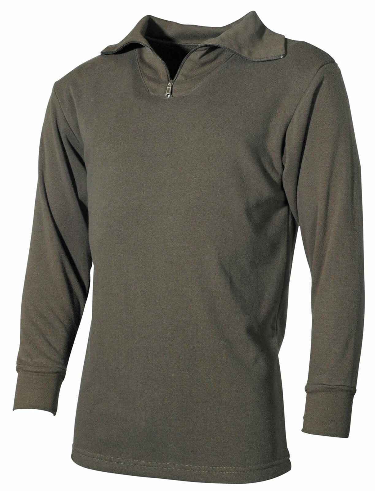 MFH Plüsch Rollkragenhemd BW Modell Half Zip Rolli Winterhemd Unterhemd oliv