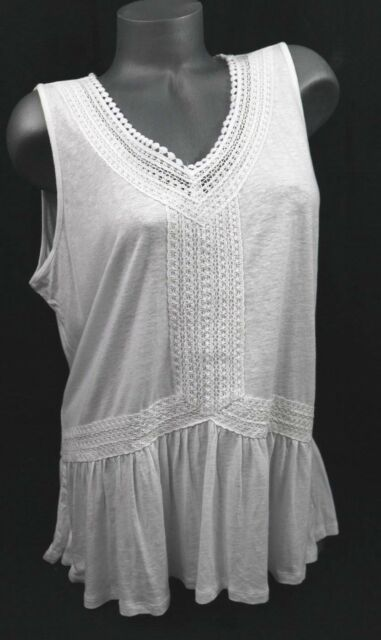 70444e47a57c6 Cable   Gauge Sleeveless Top White Slub Knit Crochet Burn-out Peplum L  60