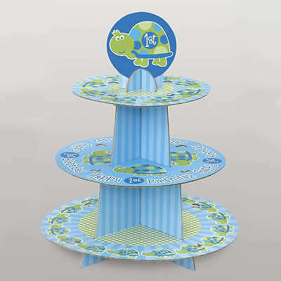 "15"" Blue Turtle Boy's Happy 1st Birthday Party 3 Tier Cupcake Cake Stand"