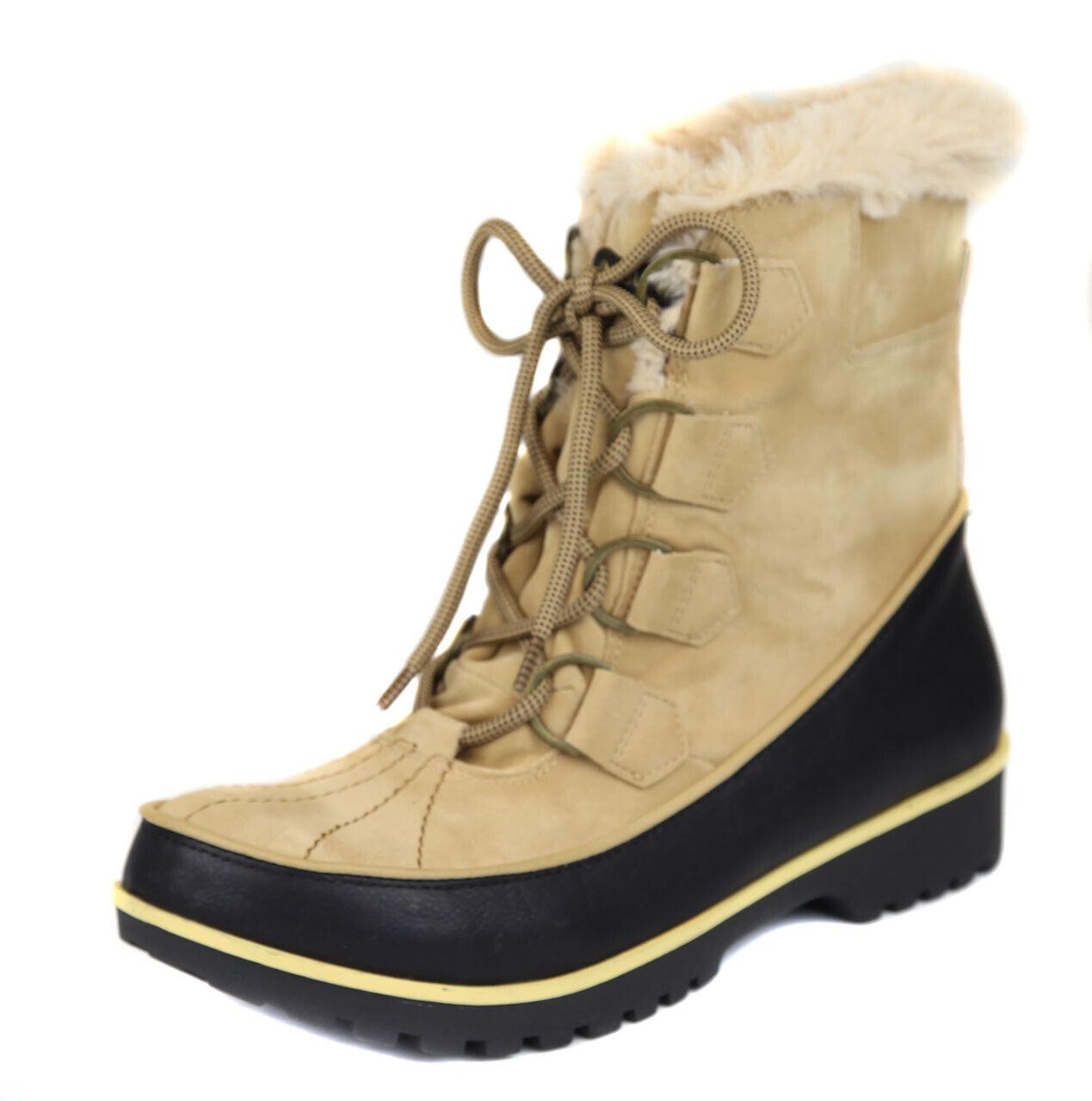 Jambu Para Mujeres Con Cordones Piel de bronceado negro mendocino Zapatos Bota Ret  Nuevo
