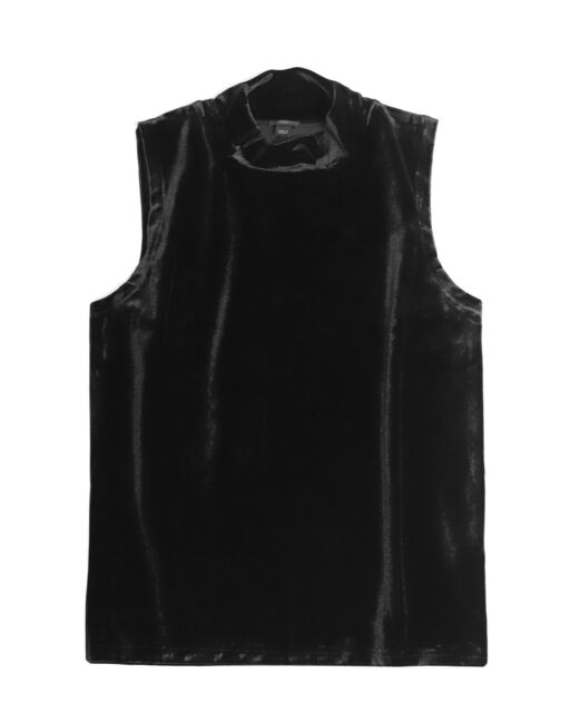 J.Crew Women's XL - NWT - Solid Black Velvet Mock Neck Shell Tank Top
