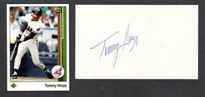 Tommy Hinzo ( Debut 1987 ) CLEVELAND INDIANS SIGNED AUTOGRAPH AUTO 3x5 INDEX COA