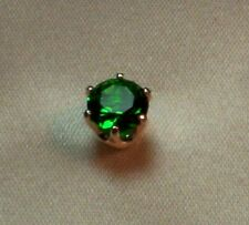 3/4 CT  ROUND BRILLIANT CREATED EMERALD MENS TIE TACK PIN SOLID STERLING SILVER