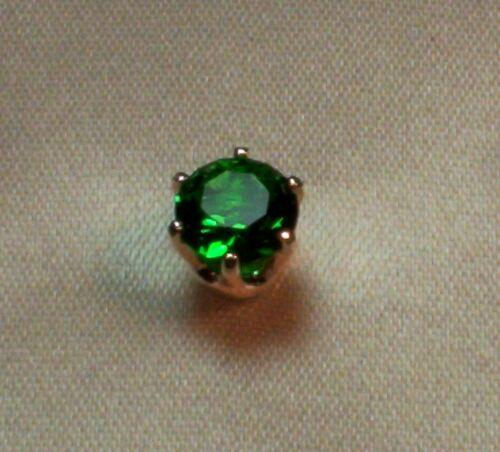 3//4 CT  ROUND BRILLIANT CREATED EMERALD MENS TIE TACK PIN SOLID STERLING SILVER
