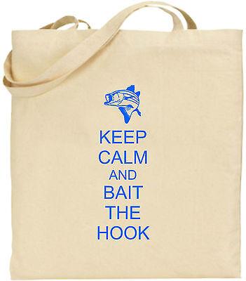 Keep Calm And Bait Der Haken Groß Baumwolltasche Einkaufstasche Lustig Fishing