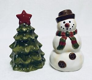 Winter-Wonderland-Tabletops-Unlimited-Tree-And-Snowman-Salt-And-Pepper-Shakers