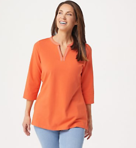 Denim-amp-Co-Essentials-Reg-Perfect-Jersey-3-4-Sleeve-Tunic-Tiger-Lily-Medium