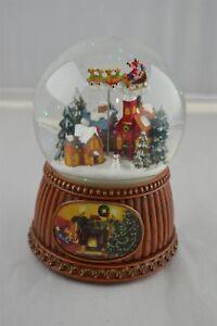 Roman-5-034-Christmas-Village-with-Rotating-Sleigh-Musical-Water-Globe