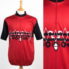 MENS VINTAGE 90S RETRO RED & BLACK CYCLING SHIRT JERSEY ROAD BIKE XL