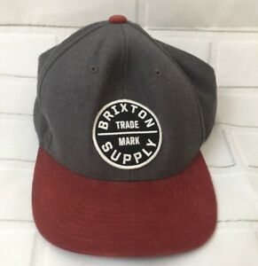 Details about Brixton Supply Trademark Hat Mens Gray Snapback Cap Burgundy  Corduroy Bill ec269b229c7