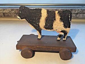Jouet en tôle et bois, pour enfant, vache sur roulettes, collection, décoration