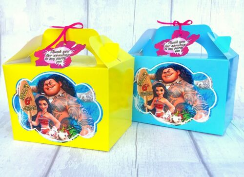 Moana /& Maui Birthday Party Box Personalised Favour Treat Gift Sweets Bag x1