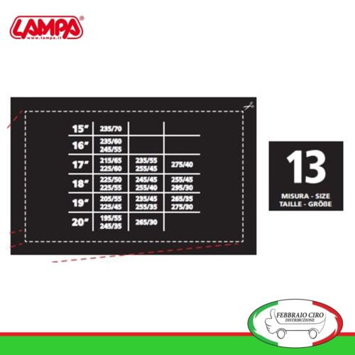 Catene da neve 195//55R20 195//55R20 da 12mm Lampa R12 Omologate Gruppo 13-16040