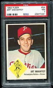 1963-Fleer-Baseball-54-ART-MAHAFFEY-Philadelphia-Phillies-PSA-7-NM