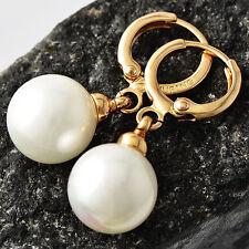vintage Womens 9K Gold Filled White Pearl Ear Dangle Earrings Free Shipping