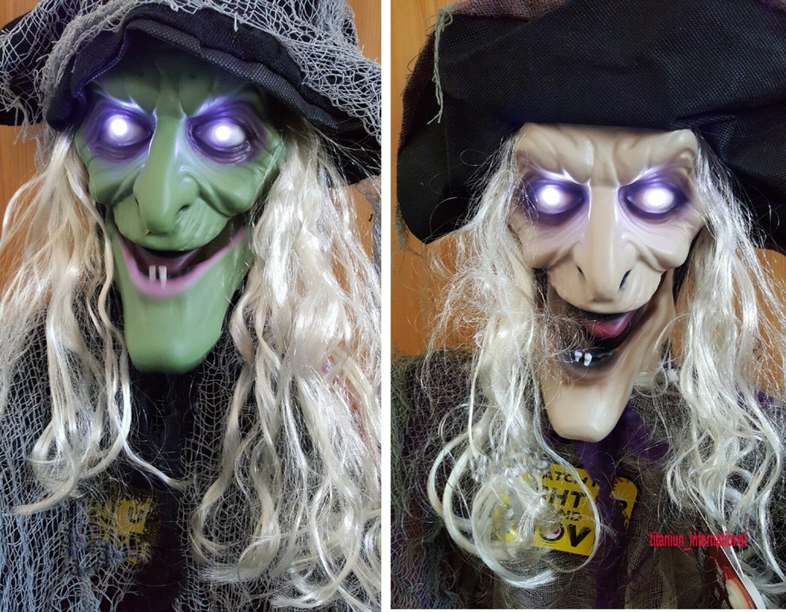 Halloween Hanging Animated Witch Decoration Light Up Eyes Talking Moving - 6Ft
