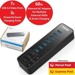 Anker 10 Port 60W Powered USB 3.0 Data Hub for External HDD Mac iMac PC Surface