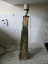 LARGE HEAVY VINTAGE HAND MADE GREEN OBELISK SHAPED POTTERY TABLE LAMP BASE