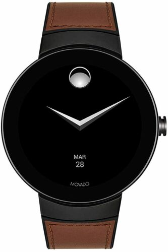 MOVADO CONNECT 3660019 BROWN LEATHER BLACK CASE TOUCHSCREEN MEN'S SMARTWATCH