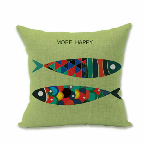 "18/"" Home Decor Marine life Whale Small fish Sofa Waist Cushion Cover Pillow Case"