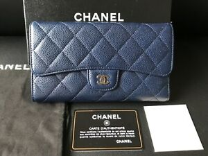 0f4e683cec6a MIB 100%AUTH CHANEL Classic Quilted Marine Blue Caviar Leather Flap ...