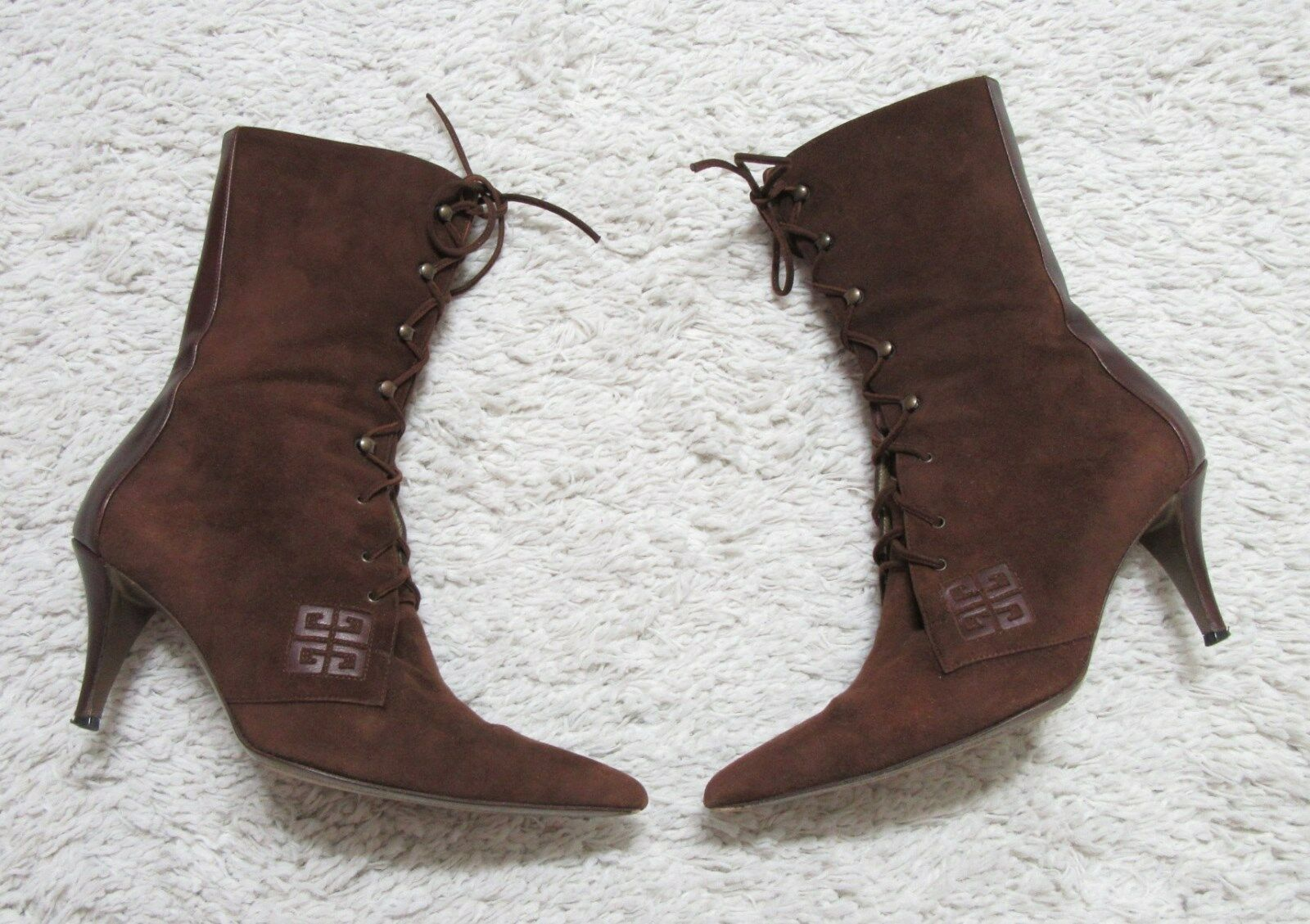 GIVENCHY BROWN SUEDE + LEATHER LACE-UP BOOTS 38.5