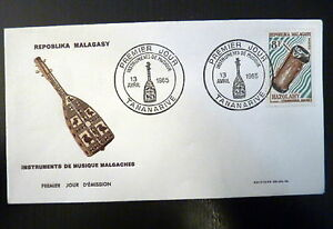 MADAGASCAR-403-PREMIER-JOUR-FDC-INSTRUMENT-MUSIQUE-TAMBOURIN-8F-1965