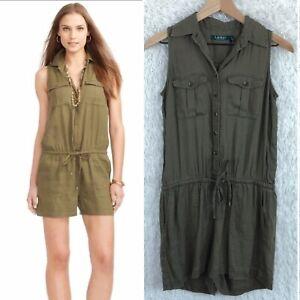 4p Ralph Lauren Womens Green Lrl Drawstring Sz Pockets Linen Romper Details Sleeveless About Tl1KuFc5J3