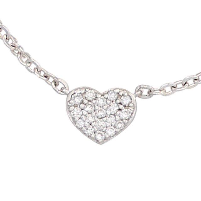 Collier Kette mit Anhänger Herz 585 Gold Weißgold 26 Diamanten 45 cm Halskette.