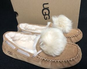 df1aabd49ed Image is loading UGG-Australia-Dakota-Pom-Pom-Chestnut-Moccasin-Slipper-