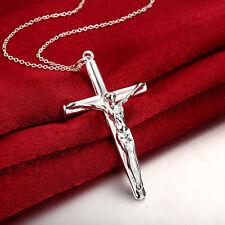 925 Silver Necklace Classic Jesus Cross Pendant Women Fashion Jewelry Gift