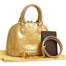 ca30cea5f70a AUTHENTIC LOUIS VUITTON VERNIS ALMA BB 2WAY HAND BAG BEIGE PATENT M91752  A35885f