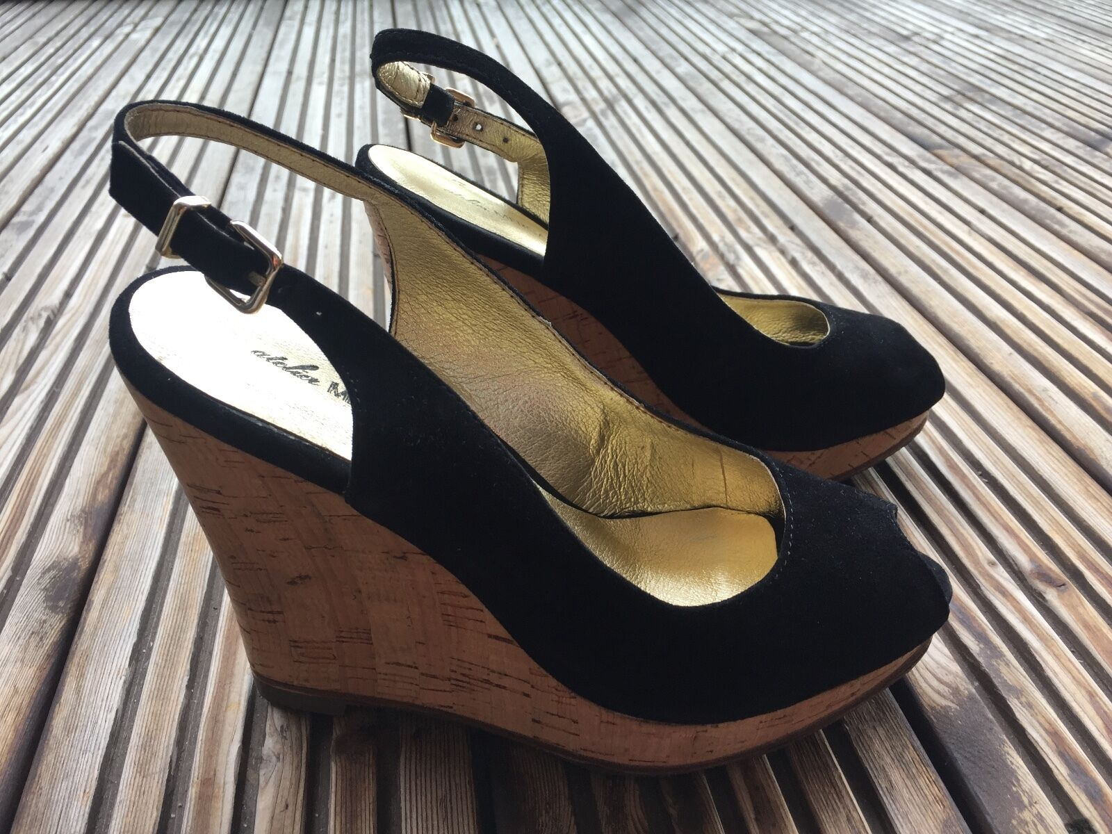 Gorgeous Atelier from MERCADAL peep toe WEDGES from Atelier PARIS black nabuc size 37 1ed9b9