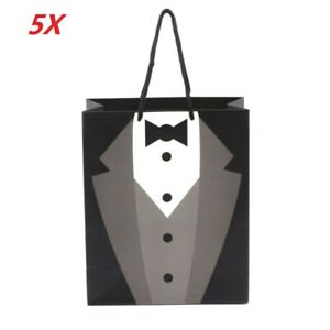 5X-Paper-Tuxedo-Groomsmen-Thank-You-Gift-Bags-Black-Wedding-Bridal-Party