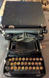Vintage PATENTED 1917 Corona No.3 Folding Typewriter in Original Case SN #371108