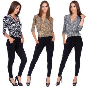 Women V Neck Wrap Jumpsuit Zebra & Panther Pattern Ladies Casual M XL 3XL 1094