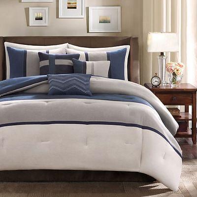 BEAUTIFUL ULTRA SOFT BLUE GREY NAVY CHEVRON MODERN STRIPE COMFORTER & PILLOW SET