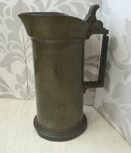 Nice Vintage Antique French Pewter Jug Tankard Demi Litre Half Liter