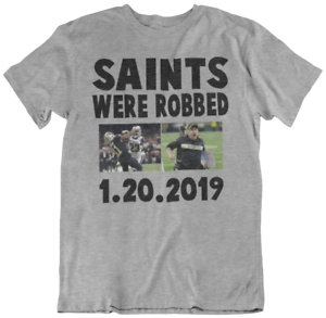 separation shoes acd24 433eb Details about NEW ORLEANS SAINTS ROBBED T-SHIRT..referee football super  bowl party 1/20/ 2019