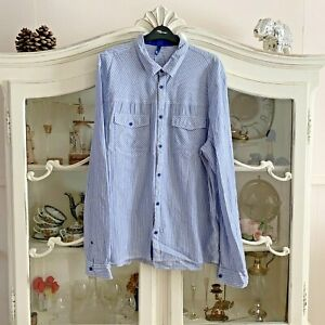 MENS-SHIRT-XL-ROLLED-UP-SLEEVES-BLUE-amp-WHITE-STRIPES-100-COTTON-H-amp-M