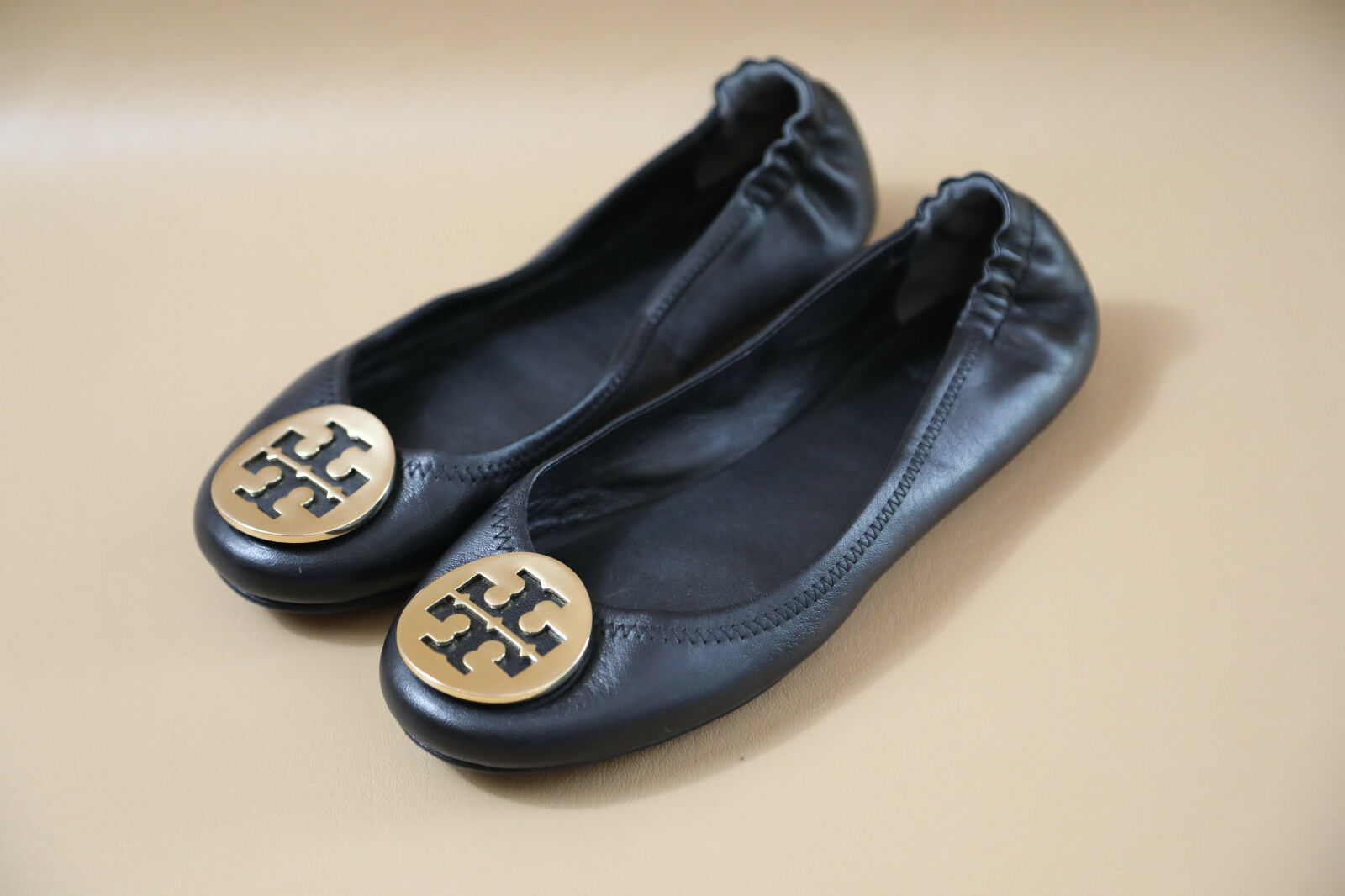 Tory Burch 'Minnie' Travel  Ballet  Travel Flat Size 6 M  retail $228  gold logo d80f74