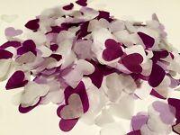 Purple, lilac & white heart wedding confetti- table decorations-biodegradable