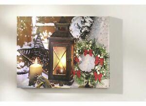 LED Wandbild Weihnachtsbaum beleuchtet Auto 40 cm x 30 cm Winter Weihnachten