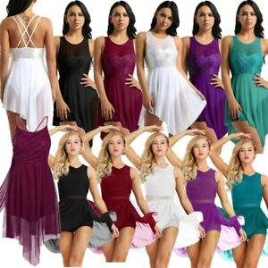 UK-Women-Lyrical-Dress-Contemporary-Ballet-Dance-Leotard-Latin-Dancewear-Costume