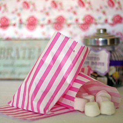 100 Pink & White Stripe Candy/Sweet Paper Kraft Bags 5x7
