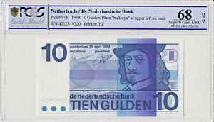 Netherlands-10-Gulden-1968-P91b-PCGS-68-OPQ-superb-gem-UNC